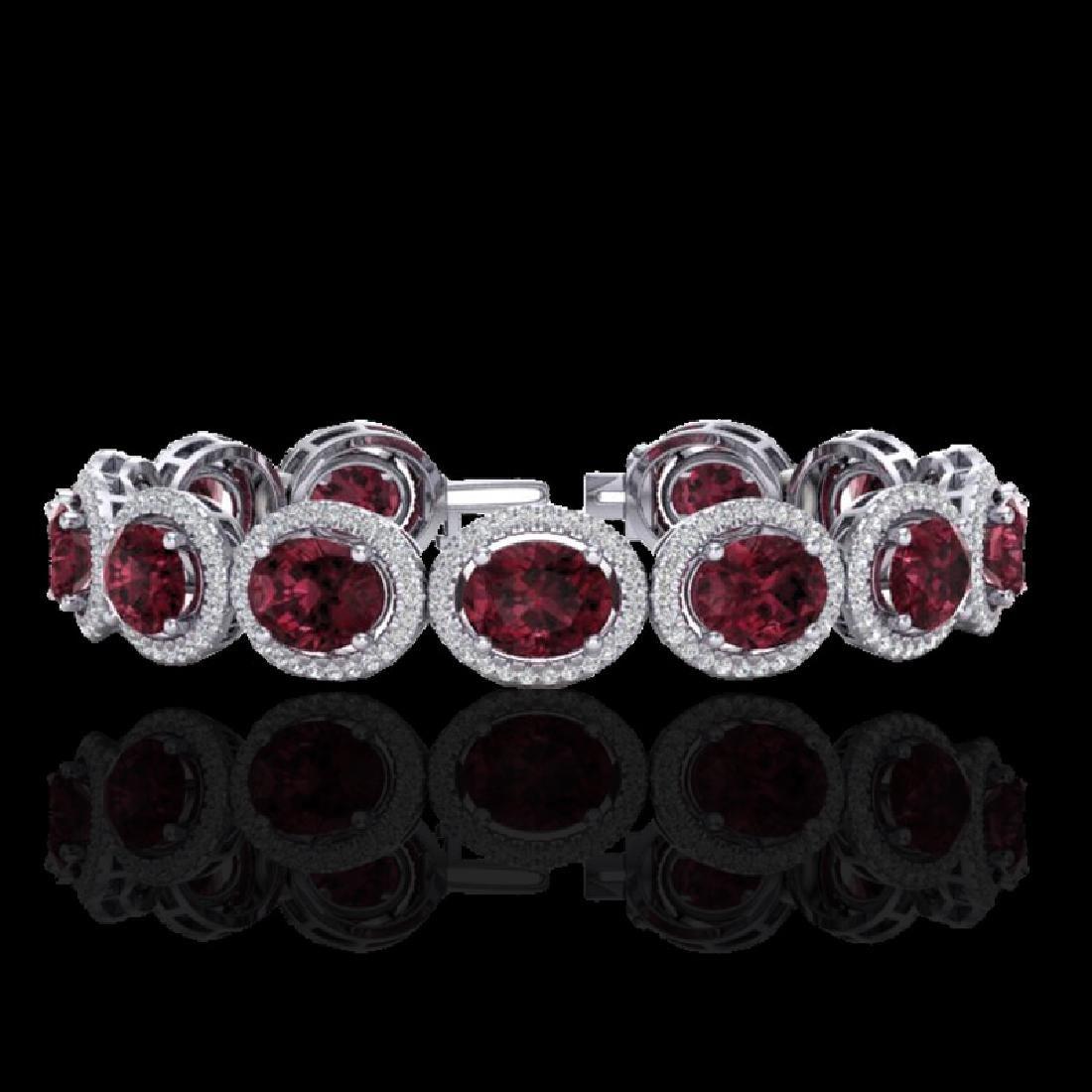 27 CTW Garnet & Micro Pave VS/SI Diamond Bracelet 10K