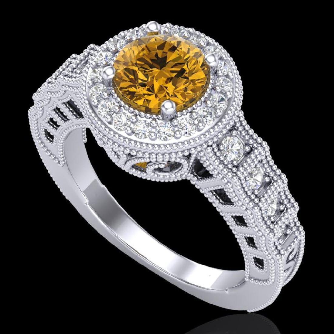 1.53 CTW Intense Fancy Yellow Diamond Engagement Art