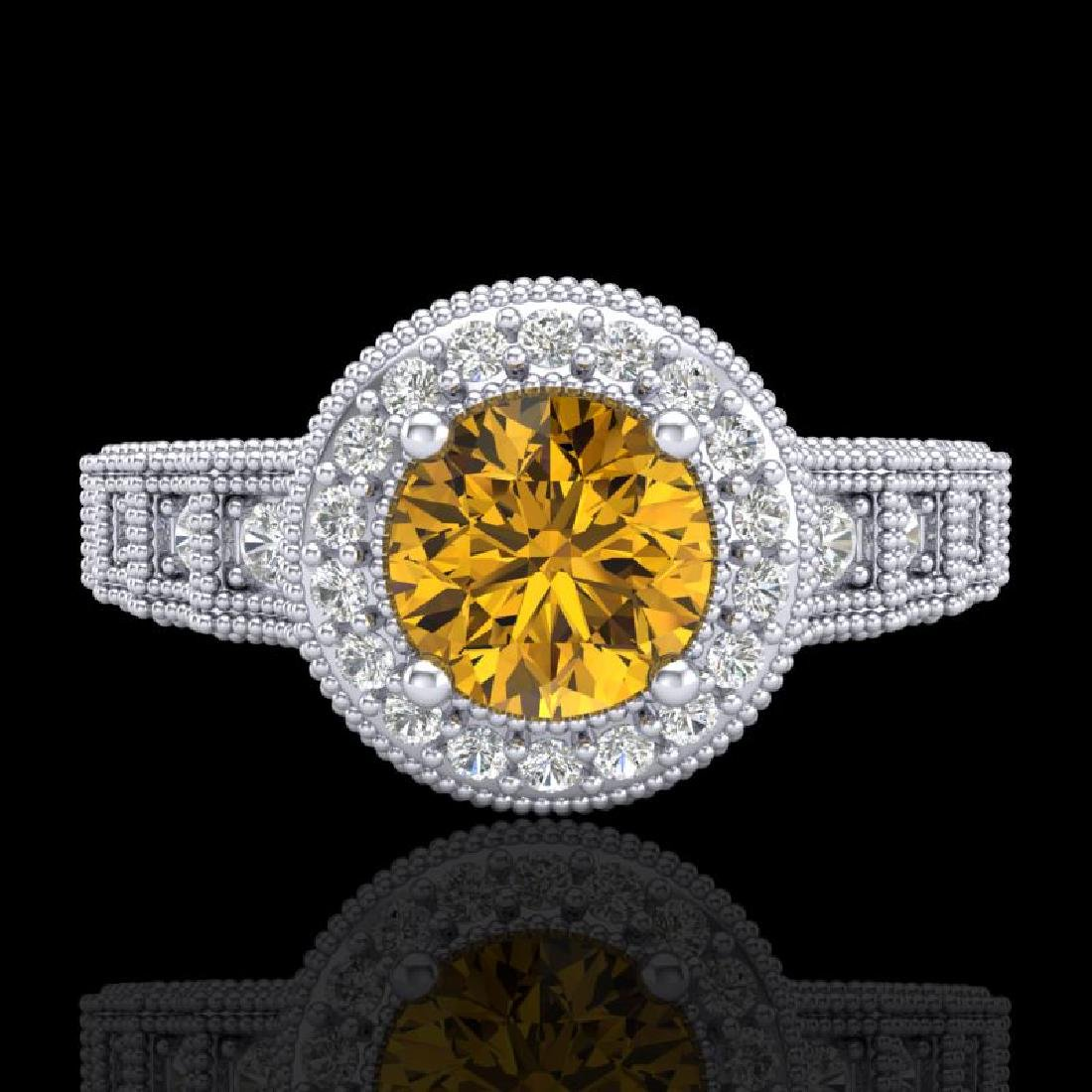 1.53 CTW Intense Fancy Yellow Diamond Engagement Art - 2