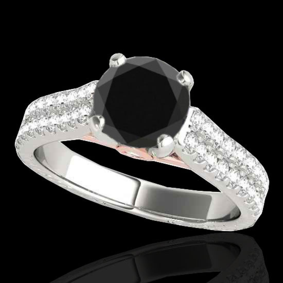 2.11 CTW Certified VS Black Diamond Pave Ring 10K White