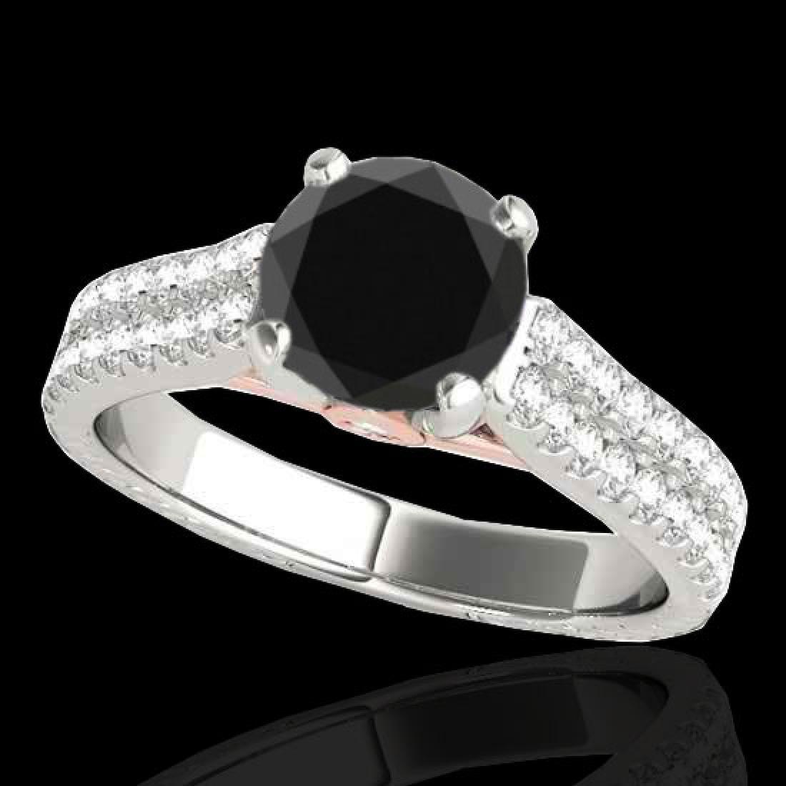 2.11 CTW Certified VS Black Diamond Pave Ring 10K White