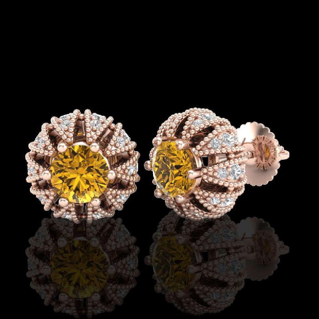 2.01 CTW Intense Fancy Yellow Diamond Art Deco Stud - 2