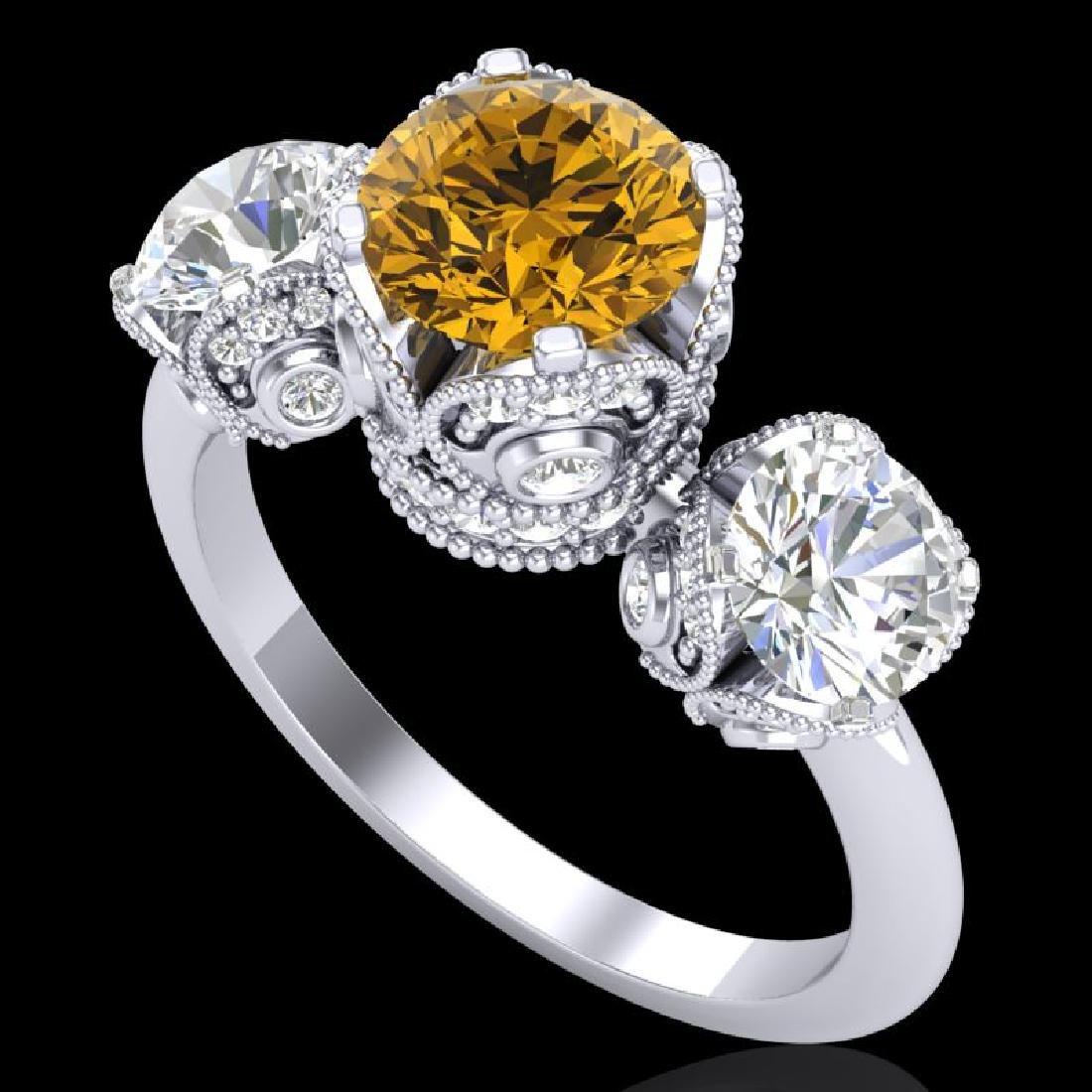 3 CTW Intense Yellow Diamond Solitaire Art Deco 3 Stone