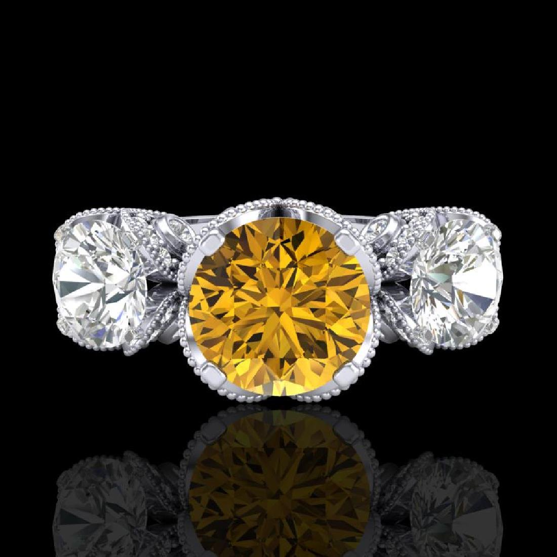 3 CTW Intense Yellow Diamond Solitaire Art Deco 3 Stone - 2