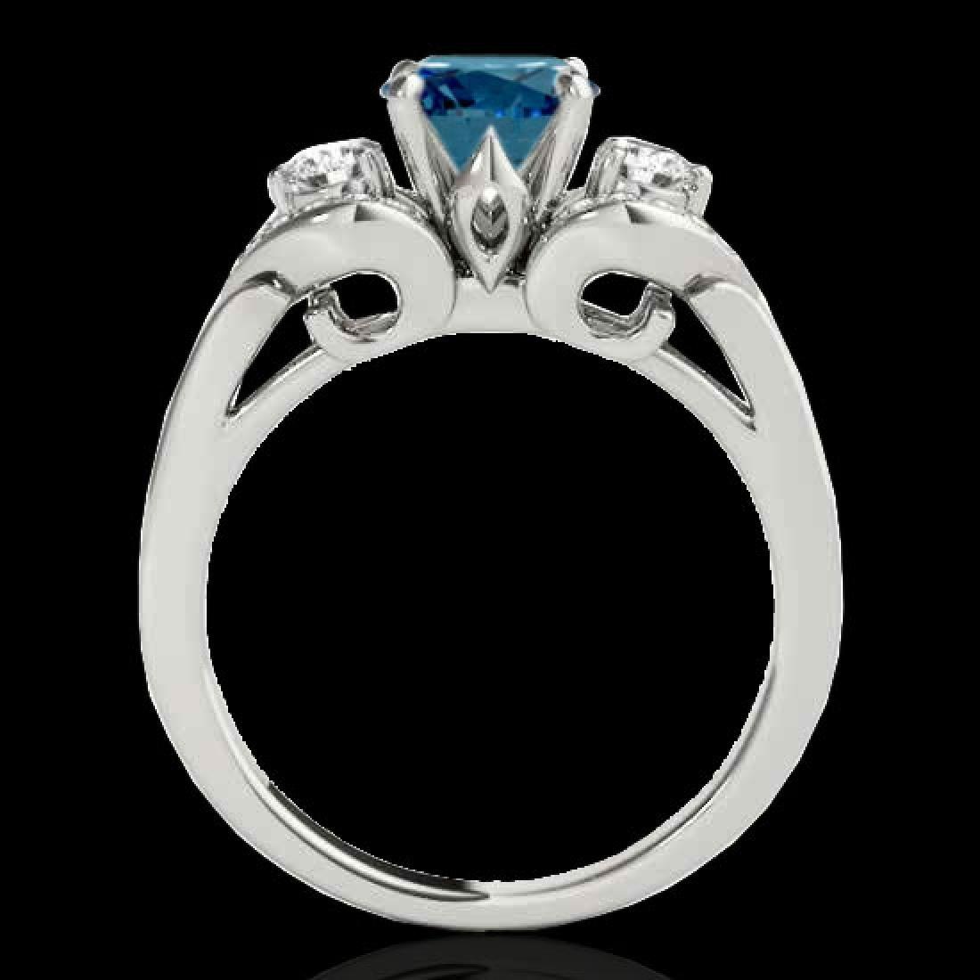 1.45 CTW SI Certified Fancy Blue Diamond 3 Stone Ring - 2