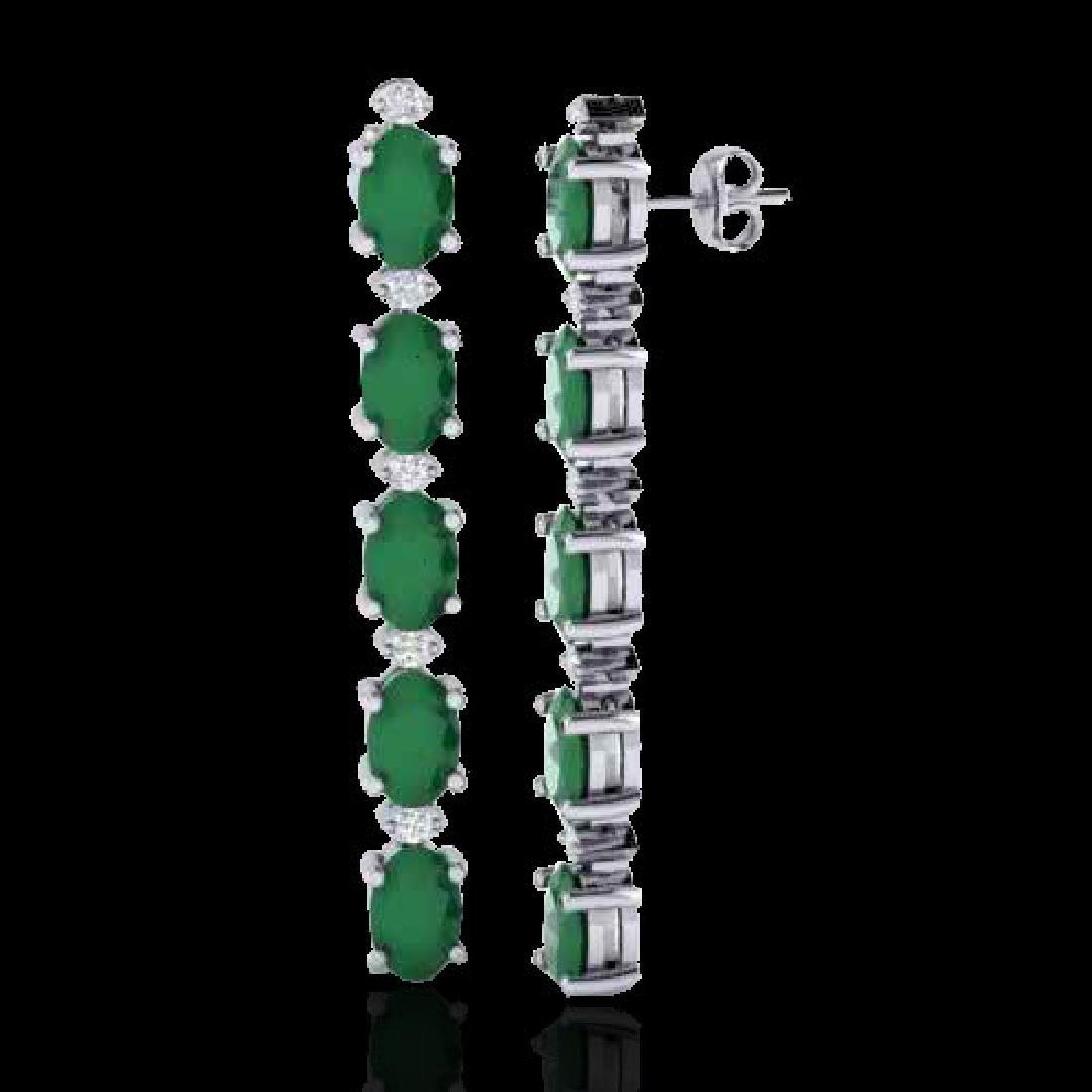 7 CTW Emerald & VS/SI Diamond Tennis Earrings 10K White - 2