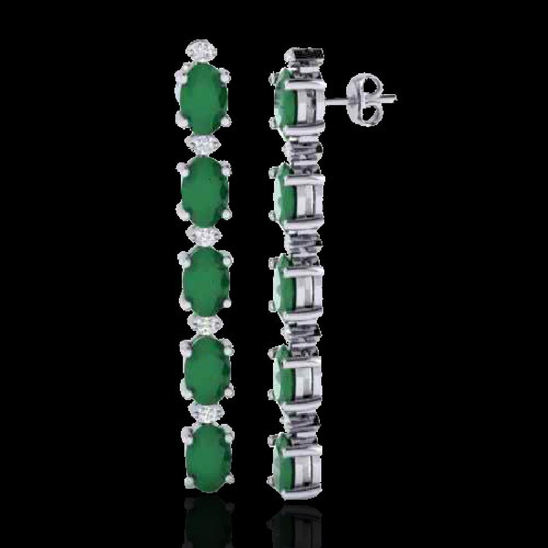7 CTW Emerald & VS/SI Diamond Tennis Earrings 10K White - 2