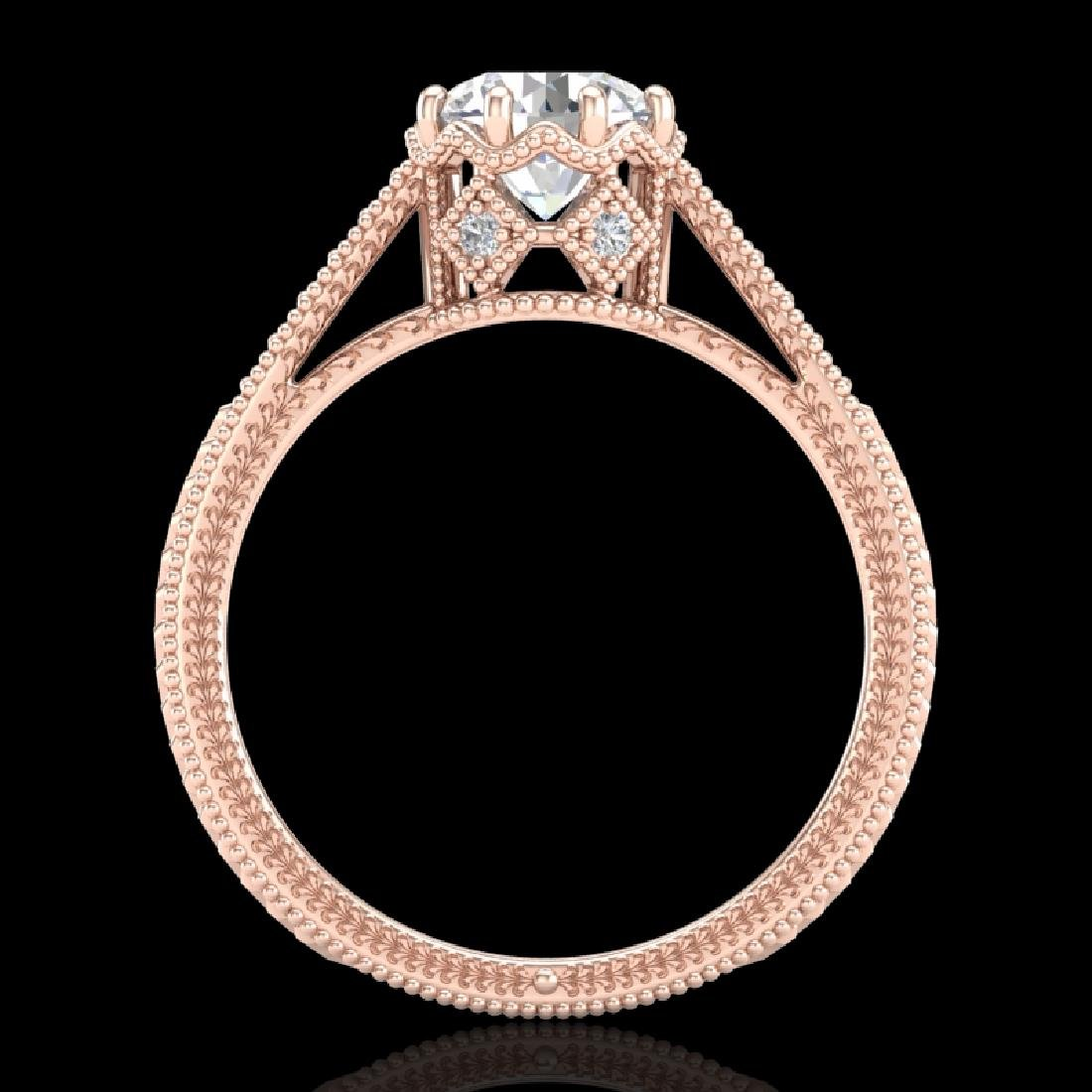 1.25 CTW VS/SI Diamond Solitaire Art Deco Ring 18K Rose