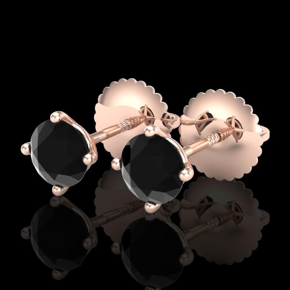 0.65 CTW Fancy Black Diamond Solitaire Art Deco Stud