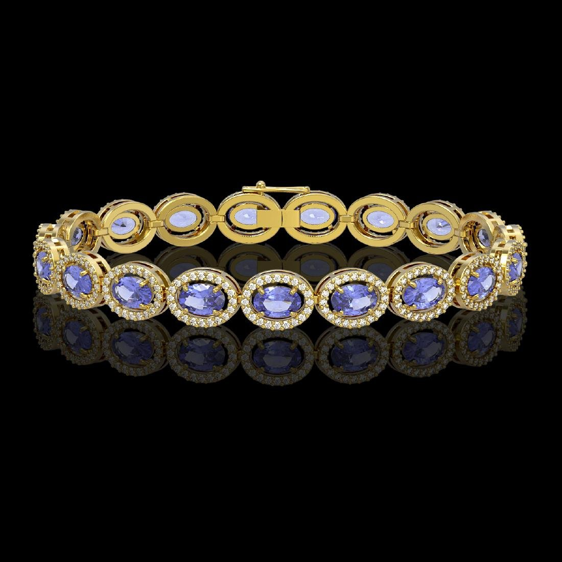 14.25 CTW Tanzanite & Diamond Halo Bracelet 10K Yellow