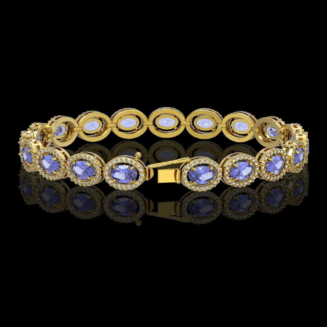14.25 CTW Tanzanite & Diamond Halo Bracelet 10K Yellow - 2