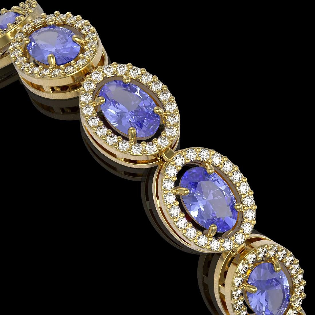 14.25 CTW Tanzanite & Diamond Halo Bracelet 10K Yellow - 3