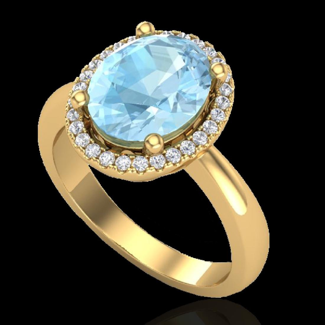 2.50 CTW Aquamarine & Micro Pave VS/SI Diamond Ring - 2
