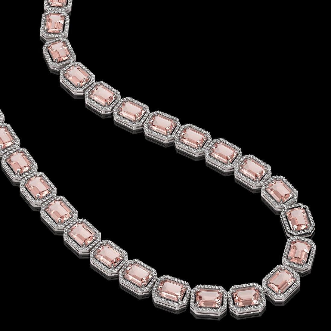 81.64 CTW Morganite & Diamond Halo Necklace 10K White