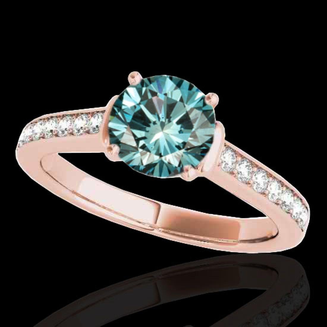 1.5 CTW SI Certified Fancy Blue Diamond Solitaire Ring