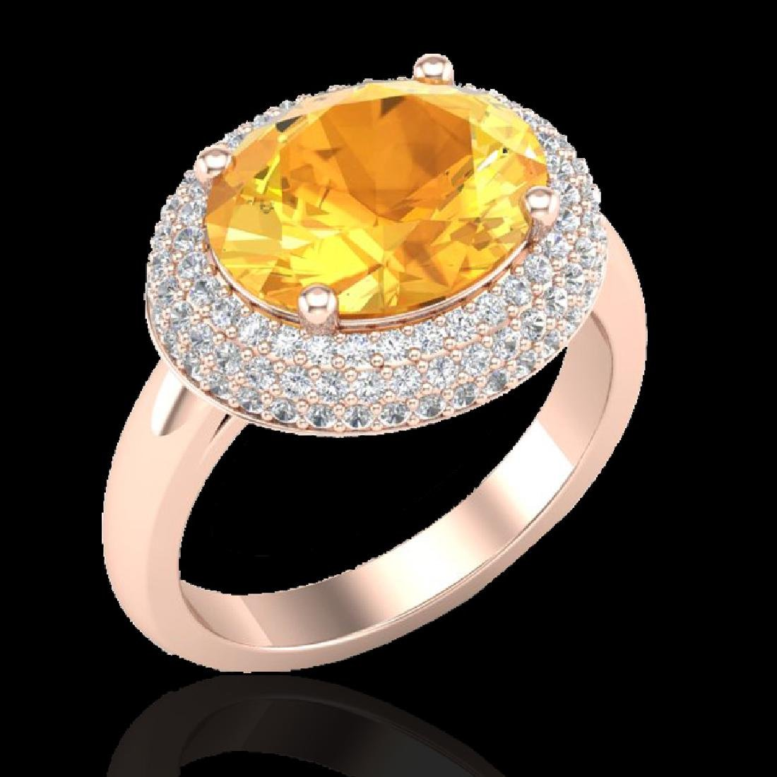 4 CTW Citrine & Micro Pave VS/SI Diamond Ring 14K Rose