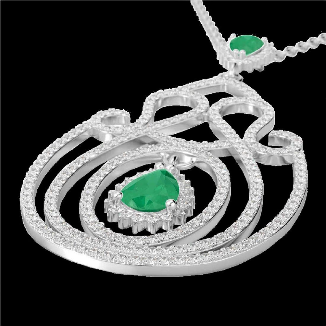 3.20 CTW Emerald & Micro Pave VS/SI Diamond Heart