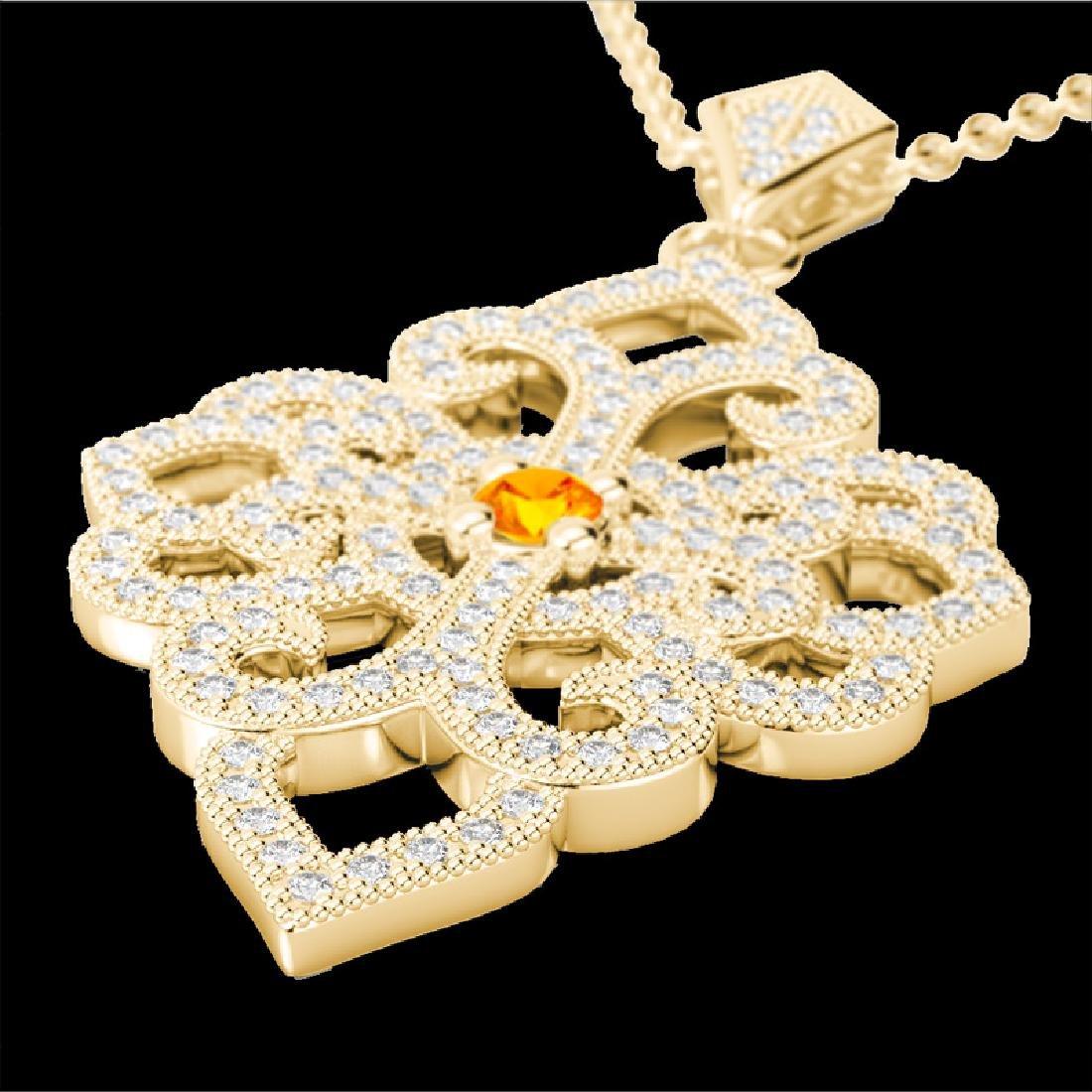 1.40 CTW Citrine & Micro Pave VS/SI Diamond Designer