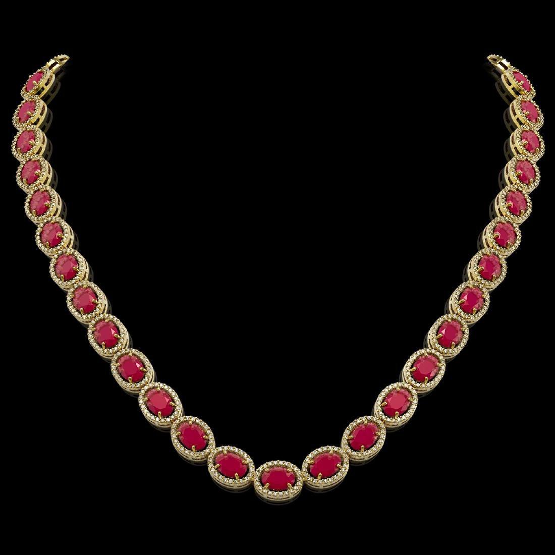 52.15 CTW Ruby & Diamond Halo Necklace 10K Yellow Gold