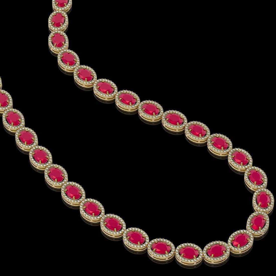 52.15 CTW Ruby & Diamond Halo Necklace 10K Yellow Gold - 2