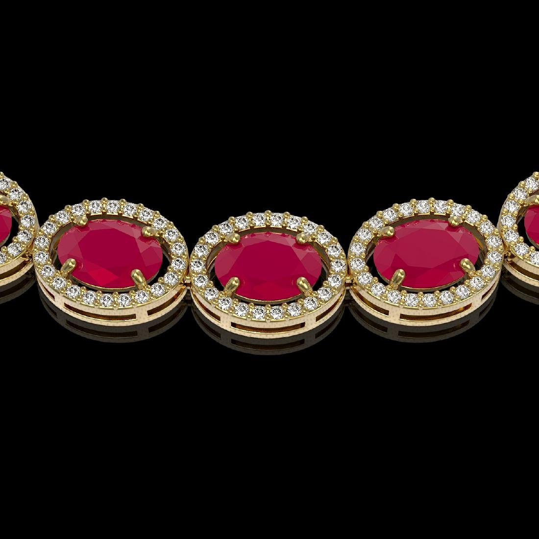 52.15 CTW Ruby & Diamond Halo Necklace 10K Yellow Gold - 3