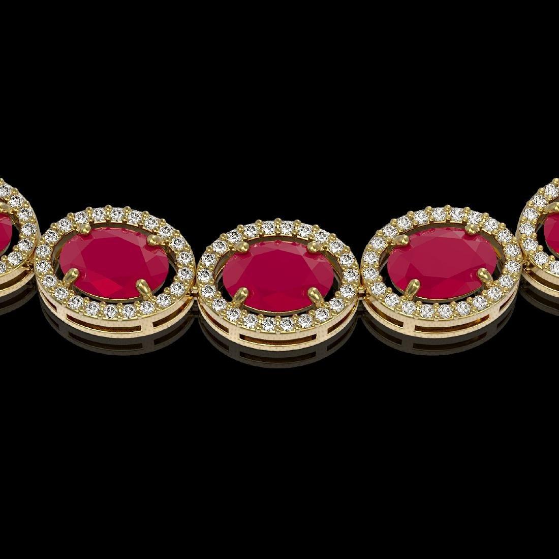 52.15 CTW Ruby & Diamond Halo Necklace 10K Yellow Gold - 3
