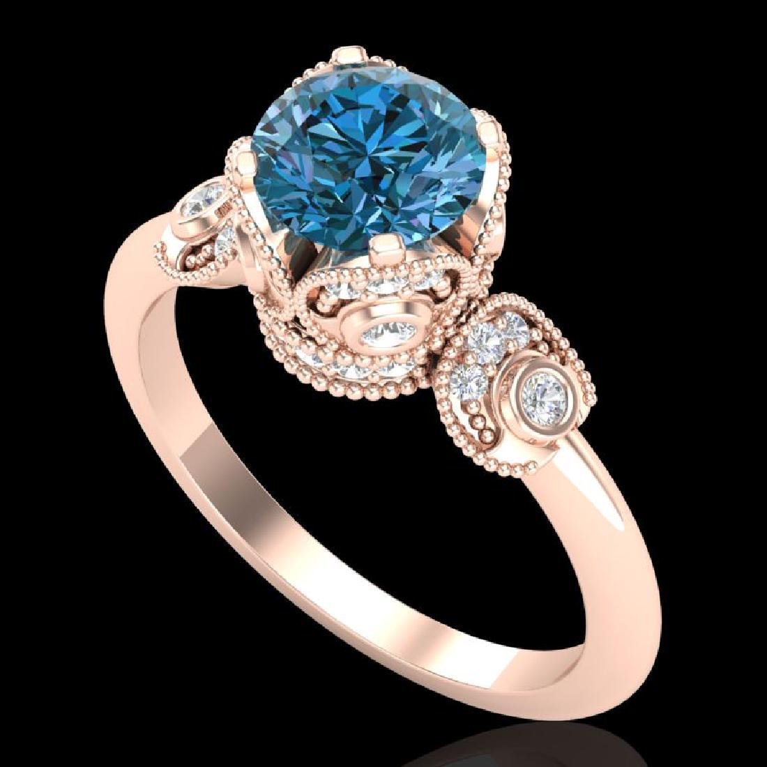 1.75 CTW Fancy Intense Blue Diamond Solitaire Art Deco