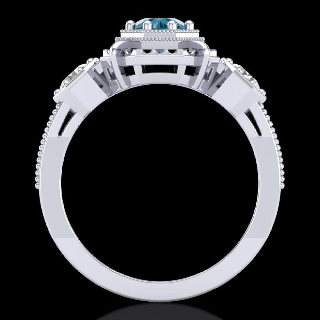 1.01 CTW Fancy Intense Blue Diamond Art Deco 3 Stone - 2