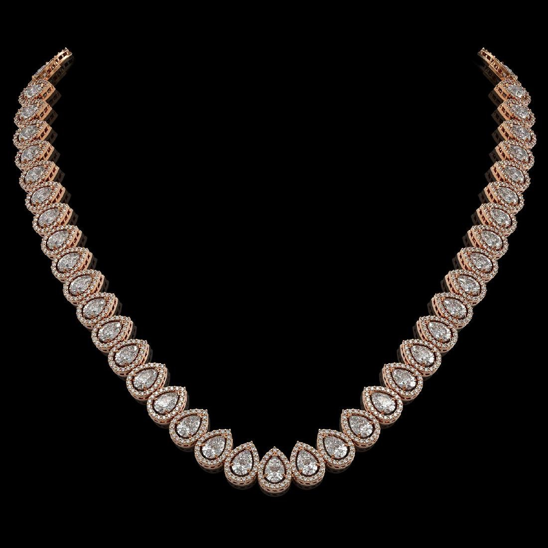 34.83 CTW Pear Diamond Designer Necklace 18K Rose Gold