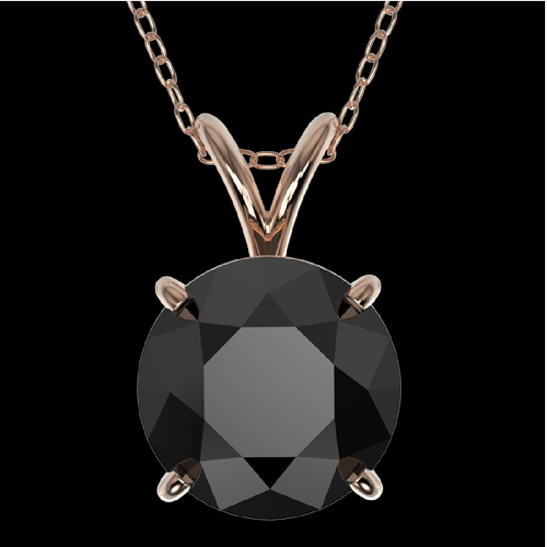 2 CTW Fancy Black VS Diamond Solitaire Necklace 10K