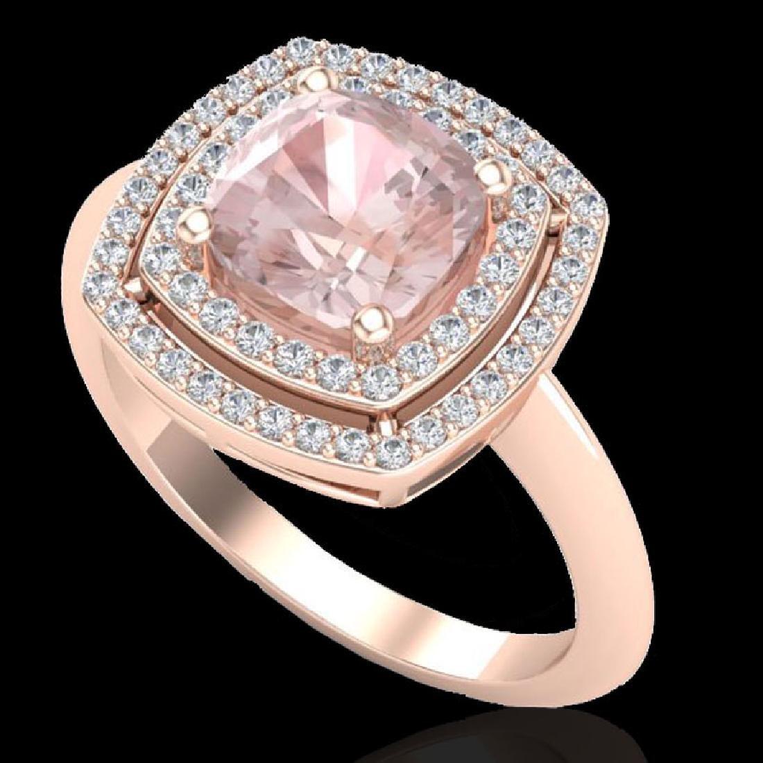 1.92 CTW Morganite & Micro VS/SI Diamond Pave Halo Ring - 2