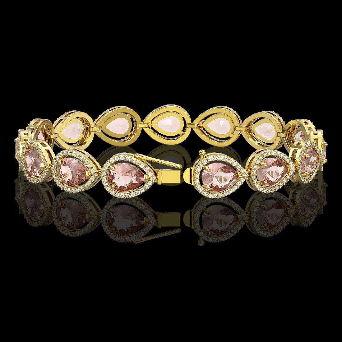 19.55 CTW Morganite & Diamond Halo Bracelet 10K Yellow - 2