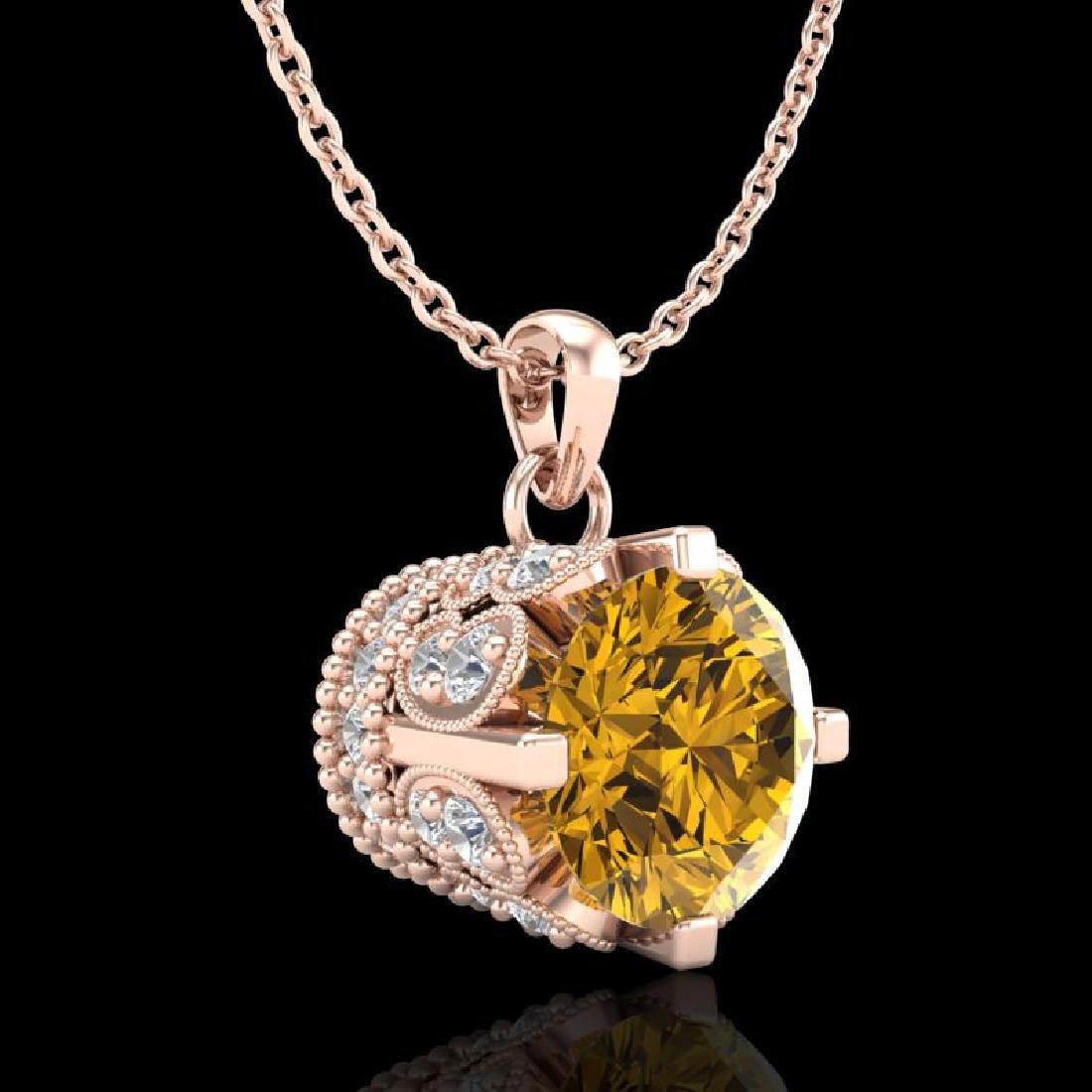 1.14 CTW Intense Fancy Yellow Diamond Art Deco Stud - 2