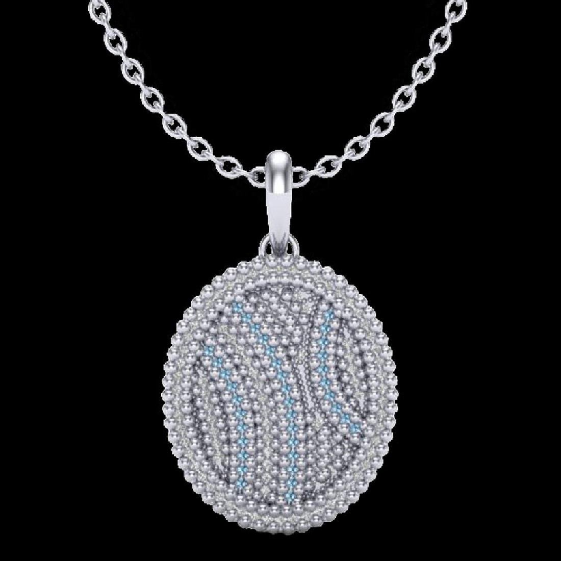 1 CTW Micro Pave Blue & White VS/SI Diamond Necklace