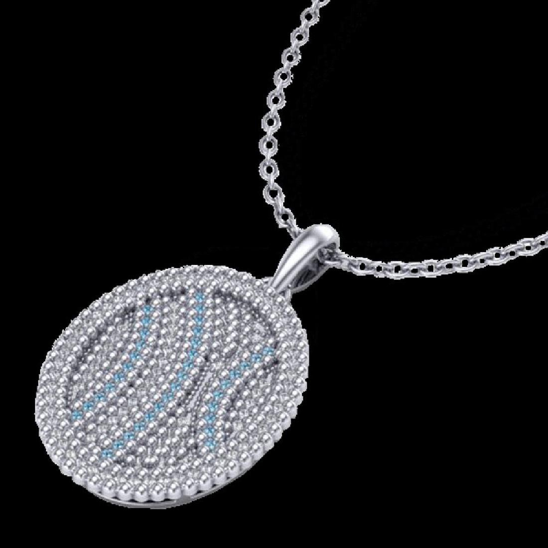 1 CTW Micro Pave Blue & White VS/SI Diamond Necklace - 2