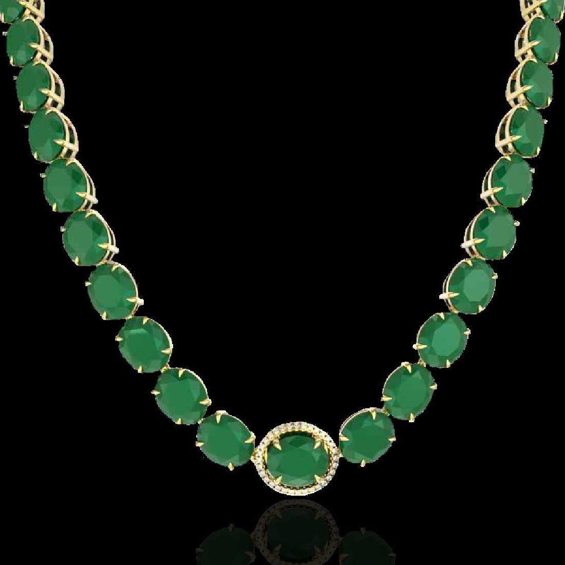 170 CTW Emerald & VS/SI Diamond Halo Micro Solitaire - 2