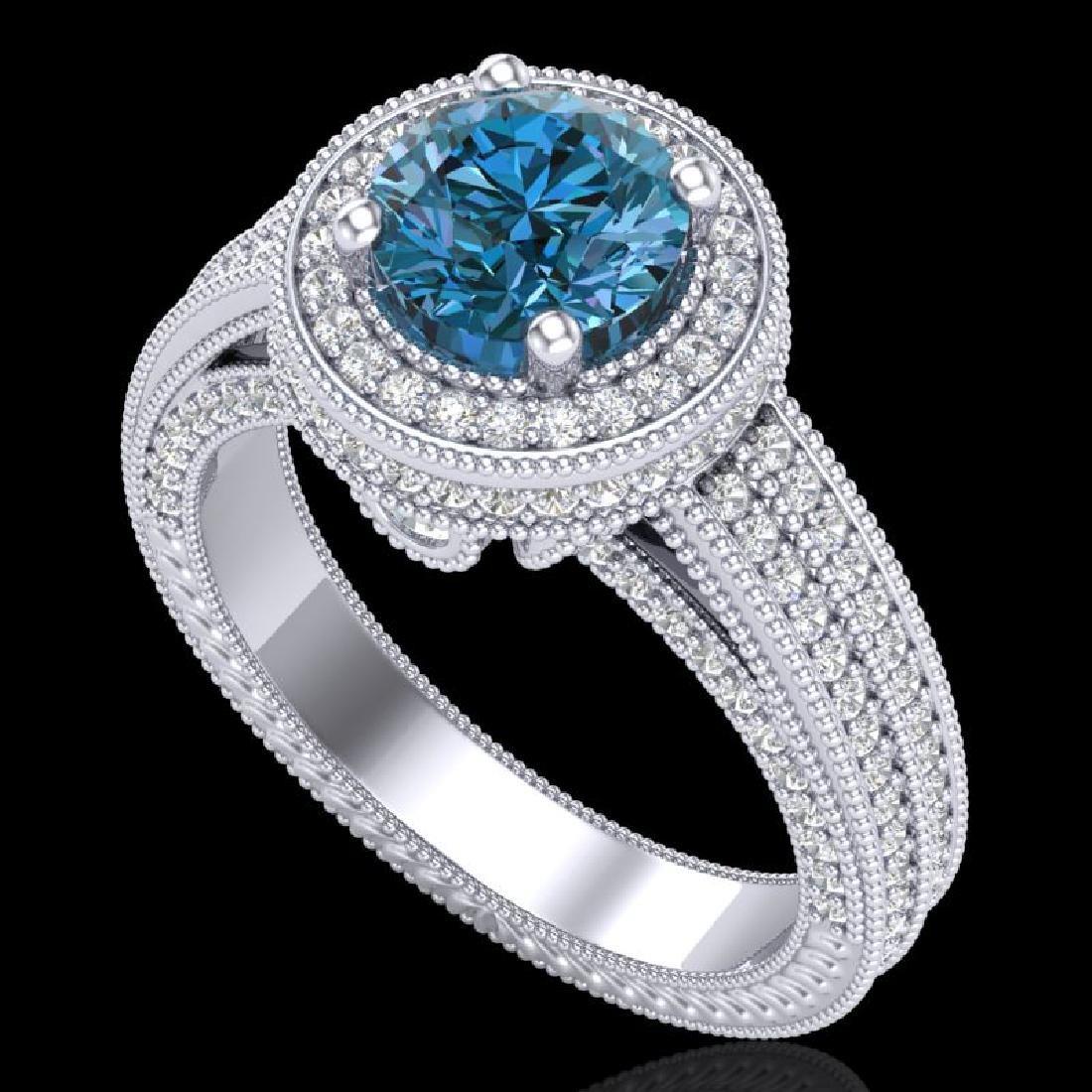 2.8 CTW Intense Blue Diamond Solitaire Engagement Art