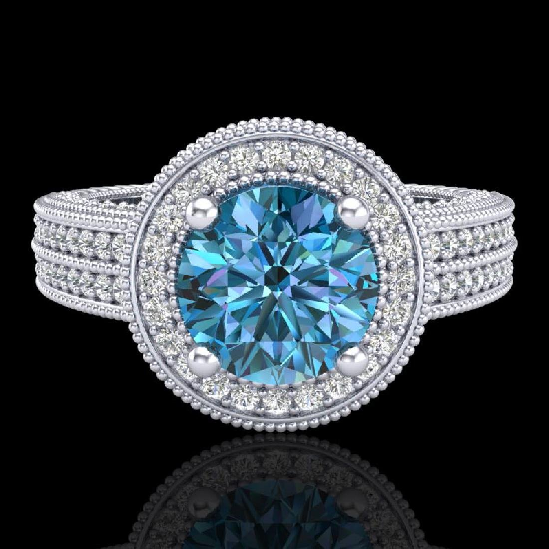 2.8 CTW Intense Blue Diamond Solitaire Engagement Art - 2