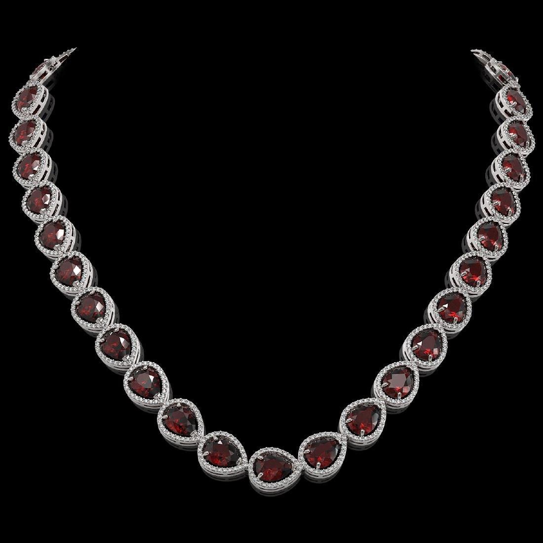 36.8 CTW Garnet & Diamond Halo Necklace 10K White Gold