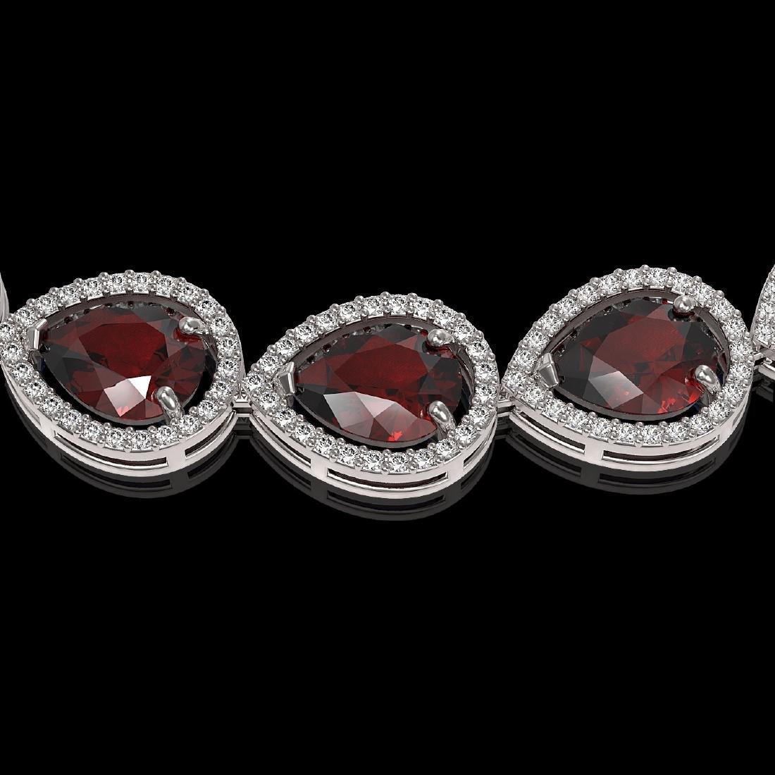 36.8 CTW Garnet & Diamond Halo Necklace 10K White Gold - 3