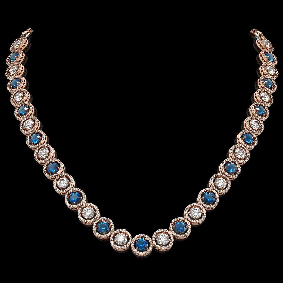 31.18 CTW Blue & White Diamond Designer Necklace 18K
