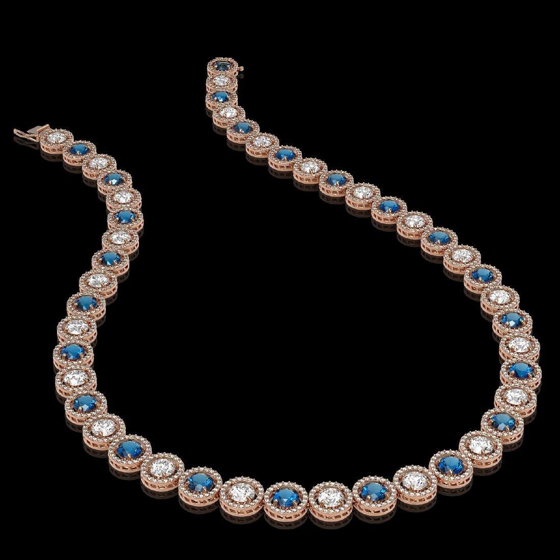 31.18 CTW Blue & White Diamond Designer Necklace 18K - 2