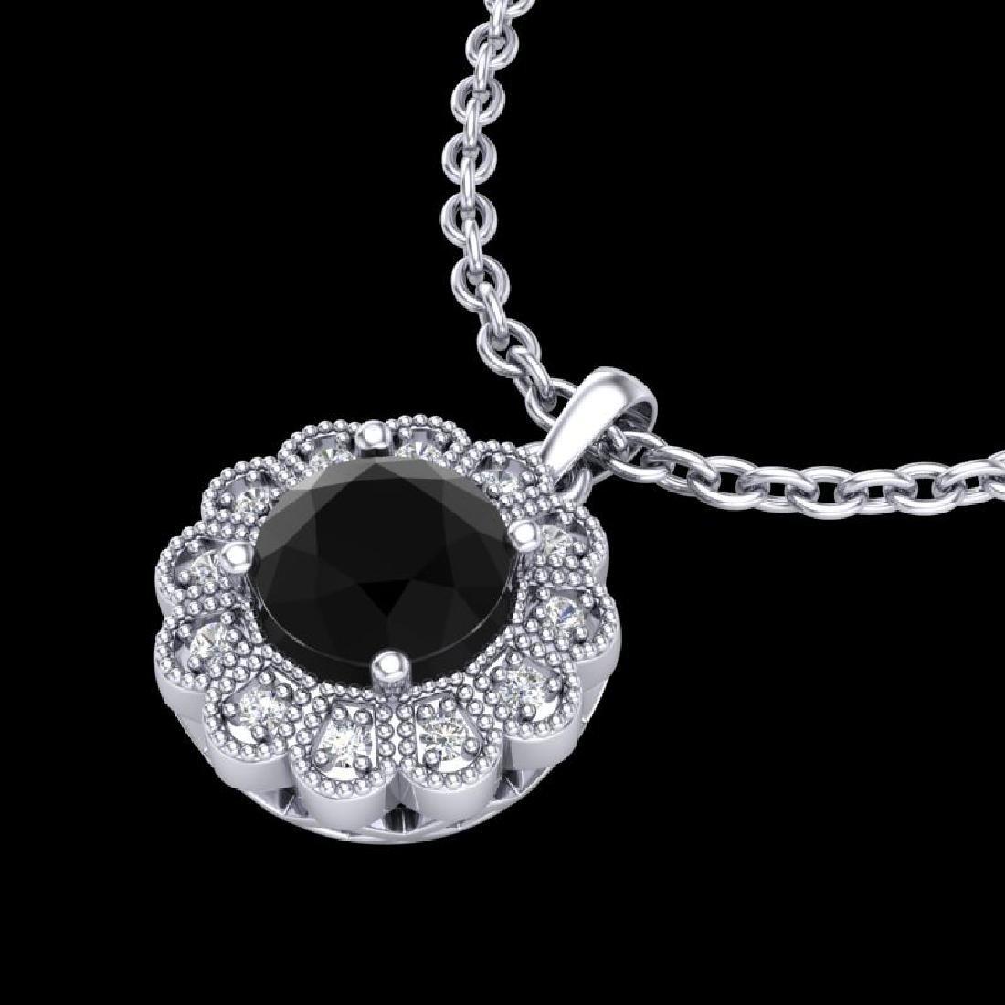 1.15 CTW Fancy Black Diamond Solitaire Art Deco Stud - 2