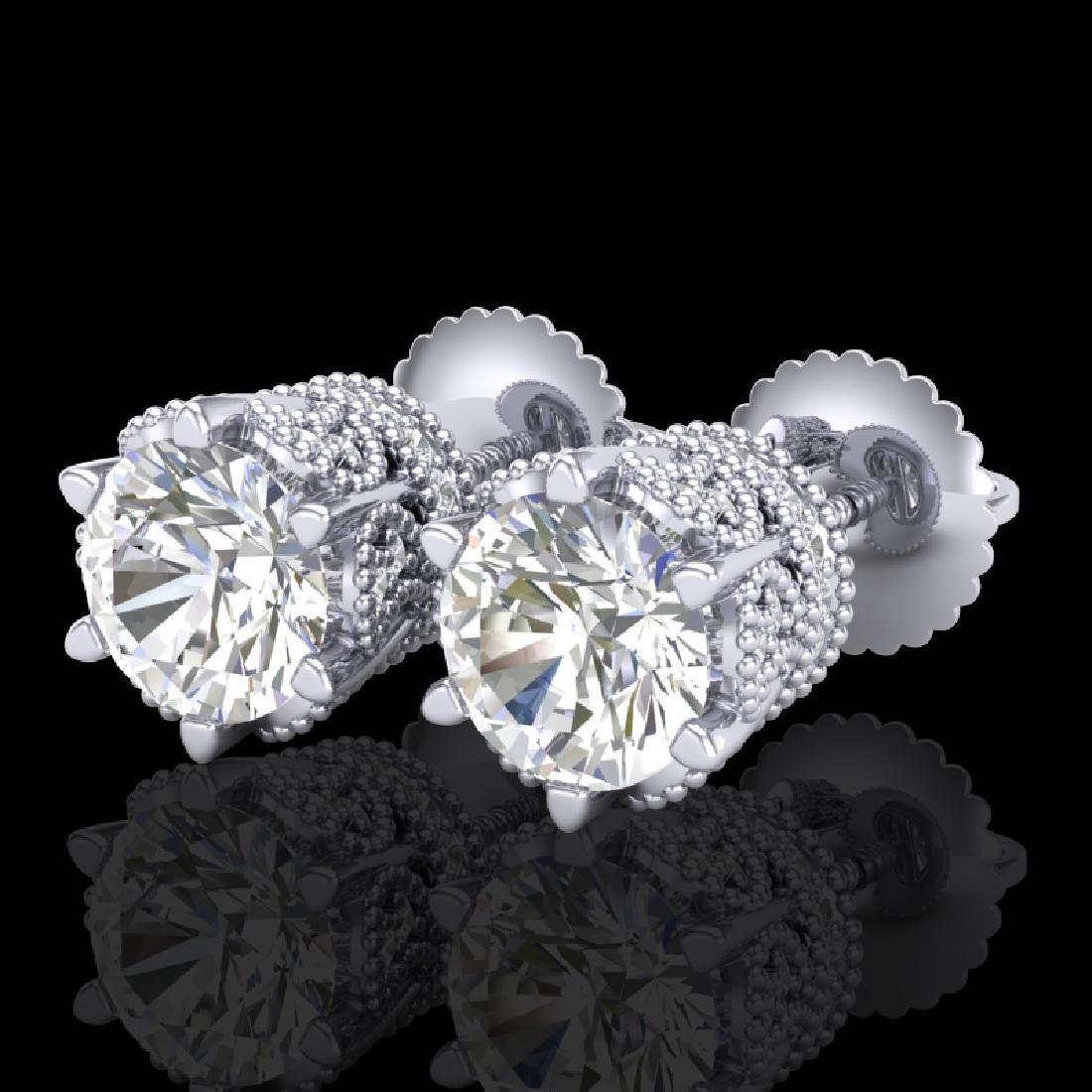 2.04 CTW VS/SI Diamond Solitaire Art Deco Stud Earrings