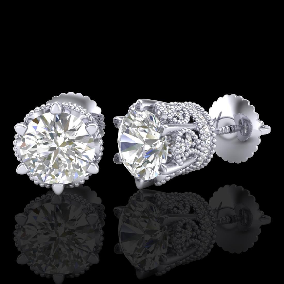 2.04 CTW VS/SI Diamond Solitaire Art Deco Stud Earrings - 2