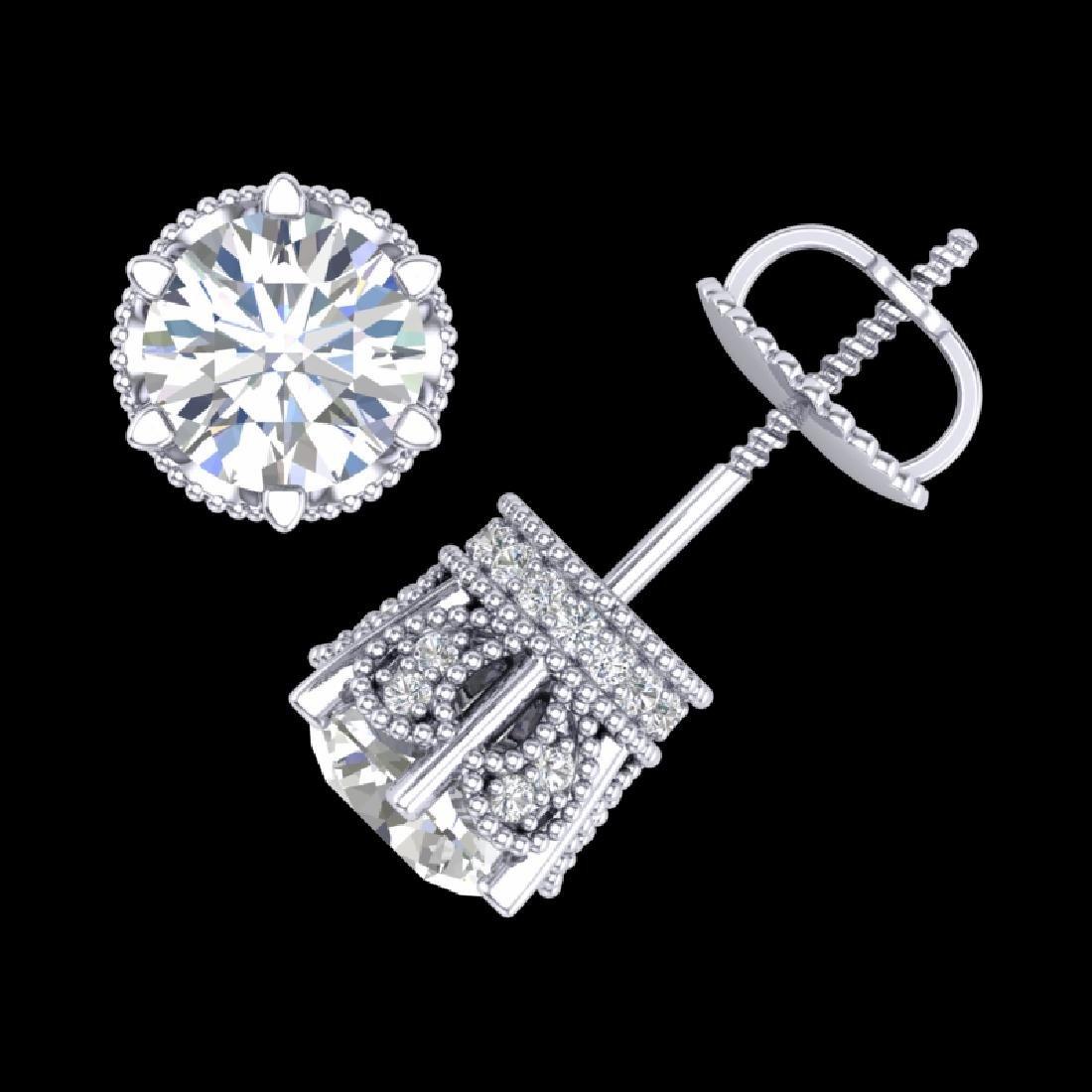 2.04 CTW VS/SI Diamond Solitaire Art Deco Stud Earrings - 3