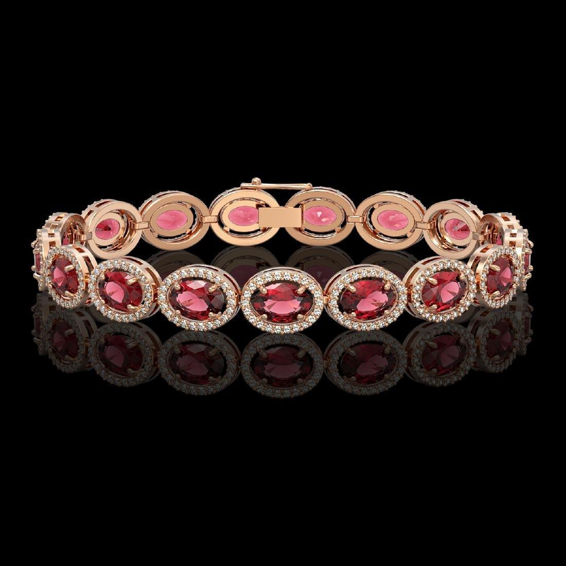 21.71 CTW Tourmaline & Diamond Halo Bracelet 10K Rose