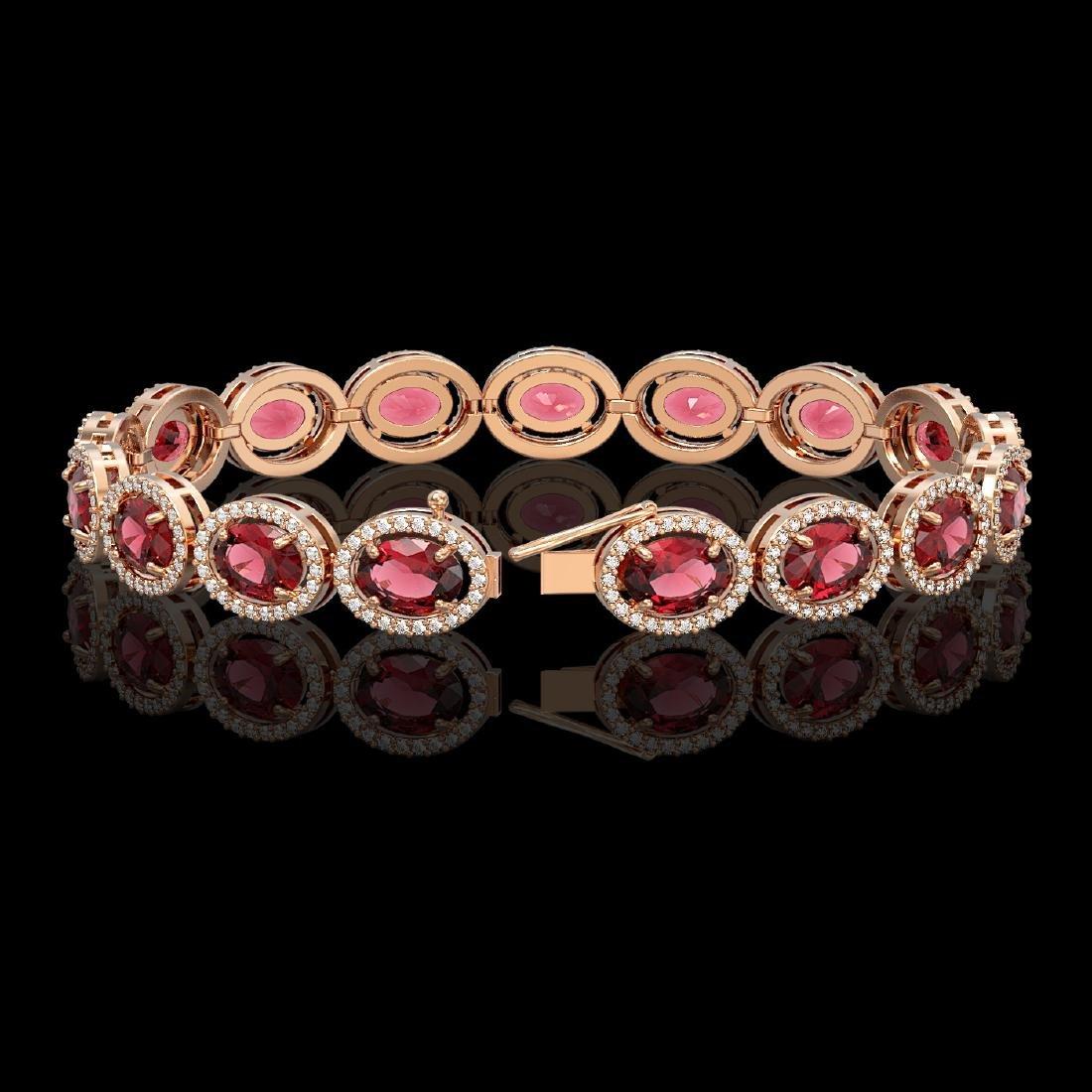 21.71 CTW Tourmaline & Diamond Halo Bracelet 10K Rose - 2