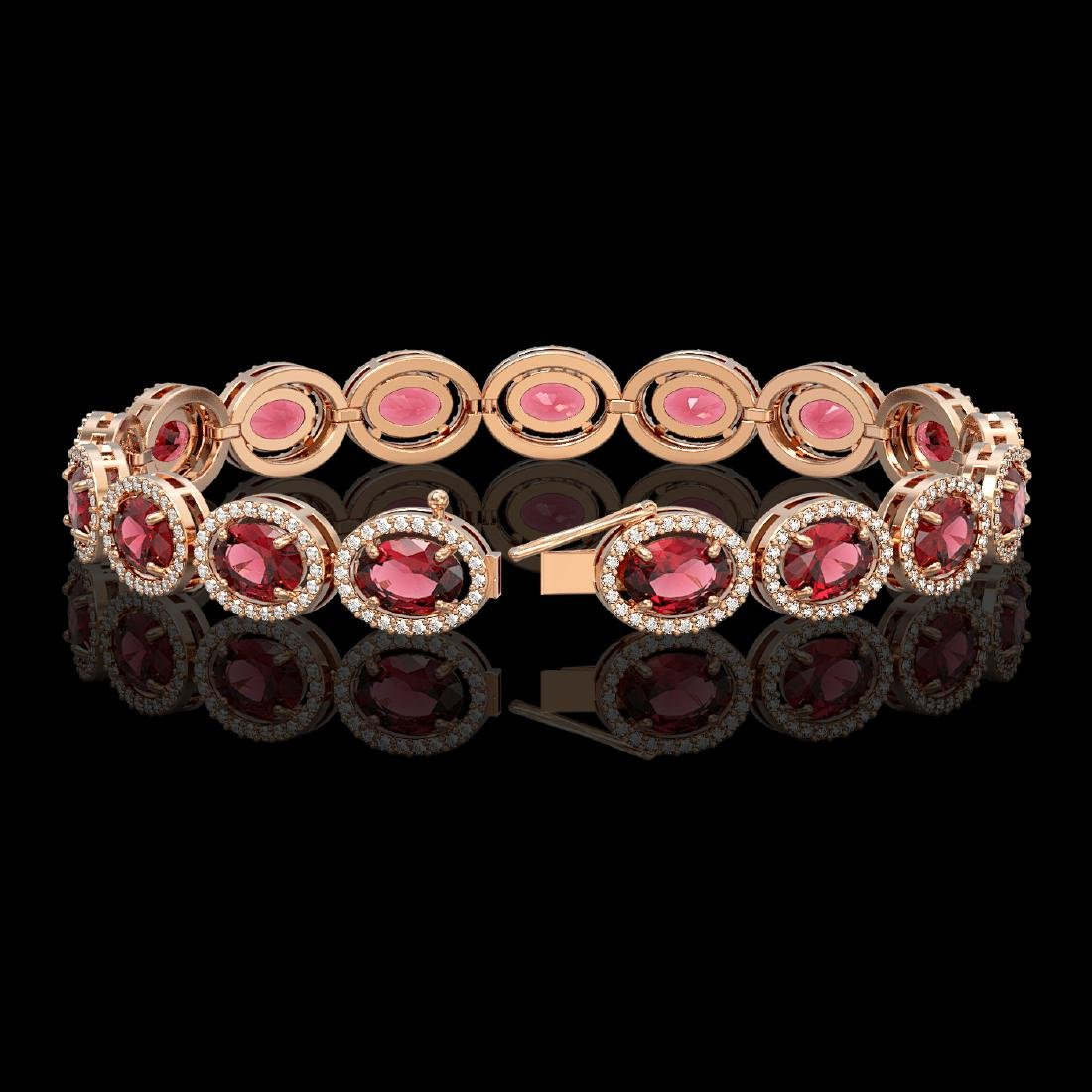 21.71 CTW Tourmaline & Diamond Halo Bracelet 10K Rose - 2