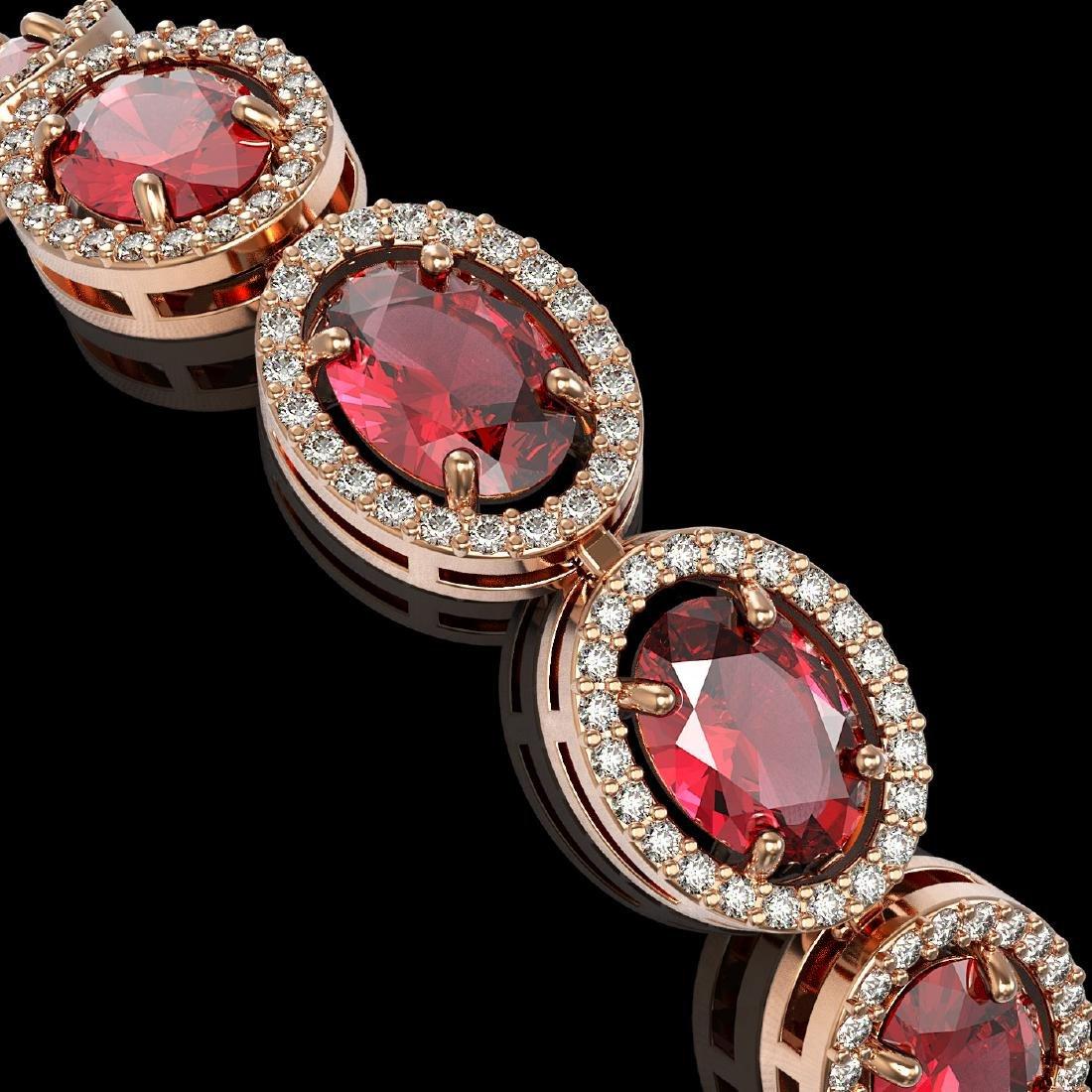 21.71 CTW Tourmaline & Diamond Halo Bracelet 10K Rose - 3